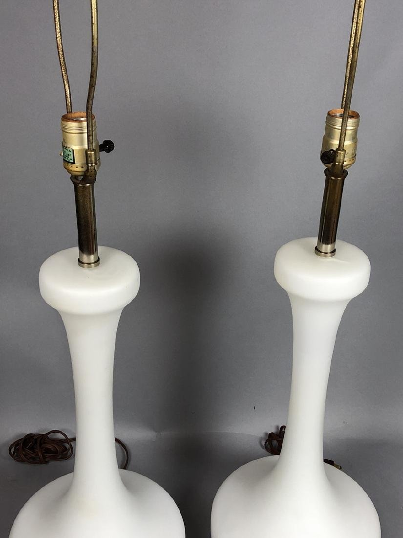 Pr LAUREL Frosted White Glass Modern Table Lamps. - 2