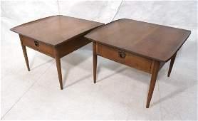 Pr Large American Modern Walnut End Tables. Squar