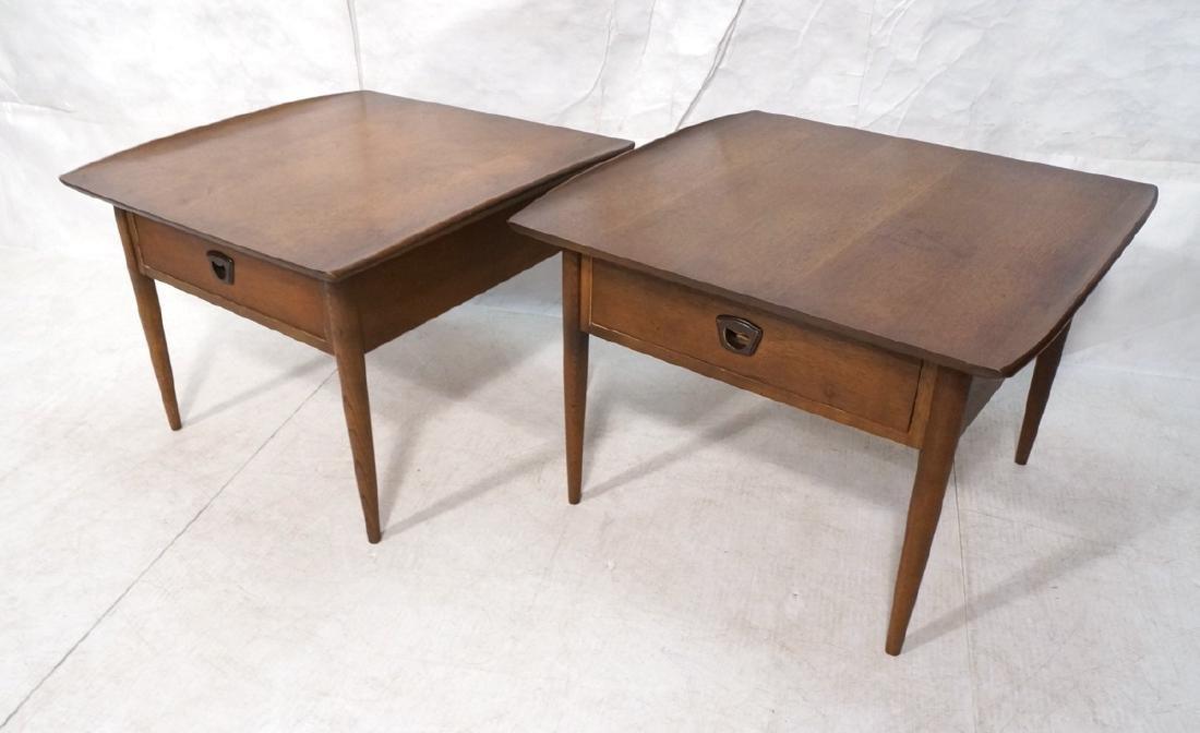 Pr Large American Modern Walnut End Tables. Squar