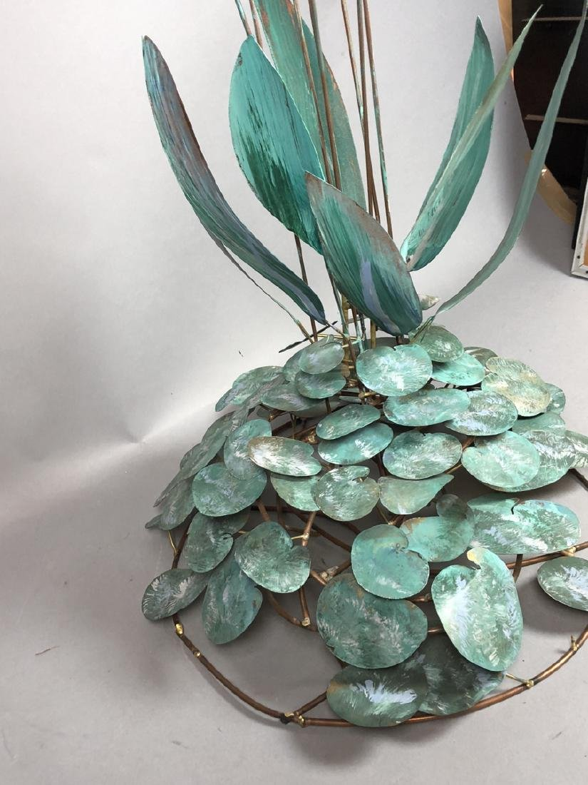 Modern Lily Pad & Cattail Table Sculpture. Welded - 6