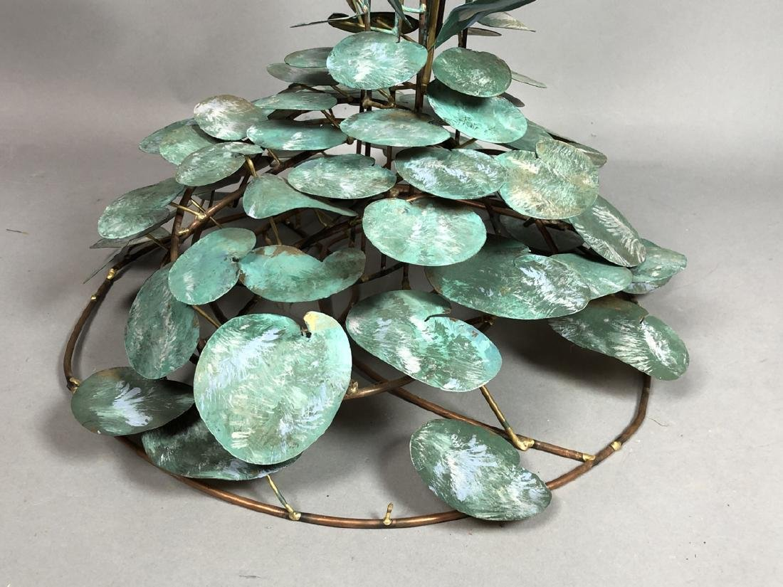 Modern Lily Pad & Cattail Table Sculpture. Welded - 7