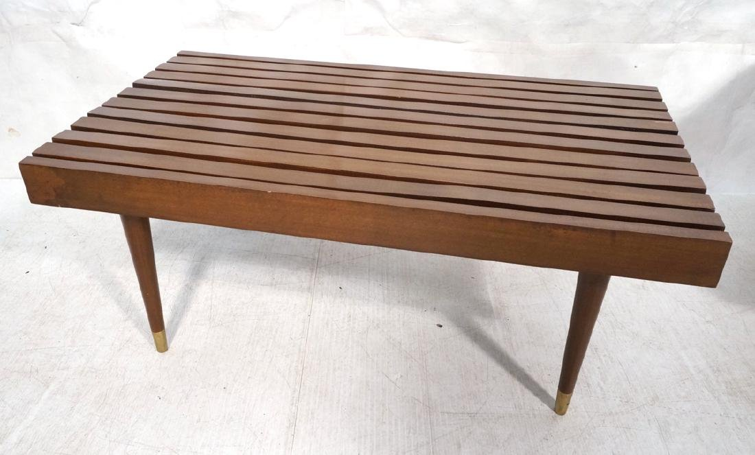 Short Wide Modern Wood Slat Bench. Tapered peg le