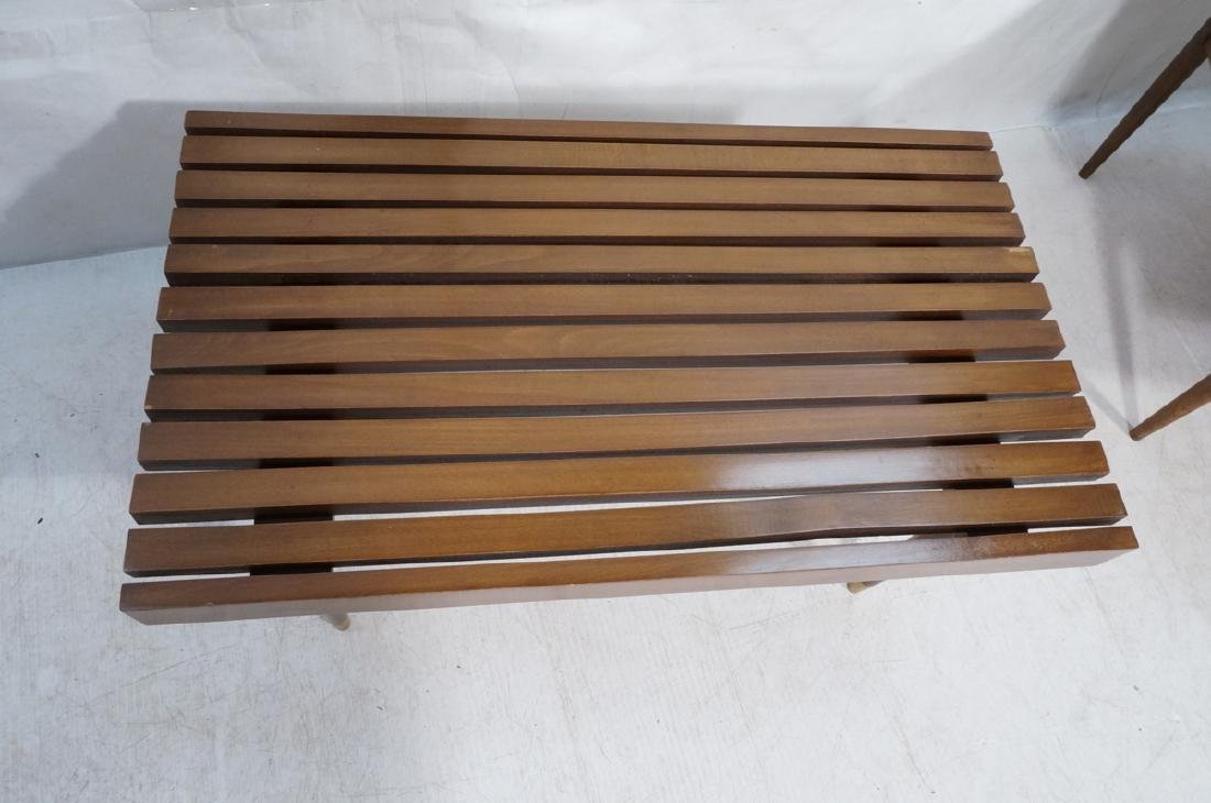 Short Wide Modern Wood Slat Bench. Tapered peg le - 2