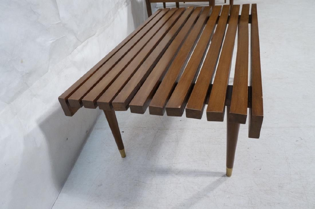 Short Wide Modern Wood Slat Bench. Tapered peg le - 3