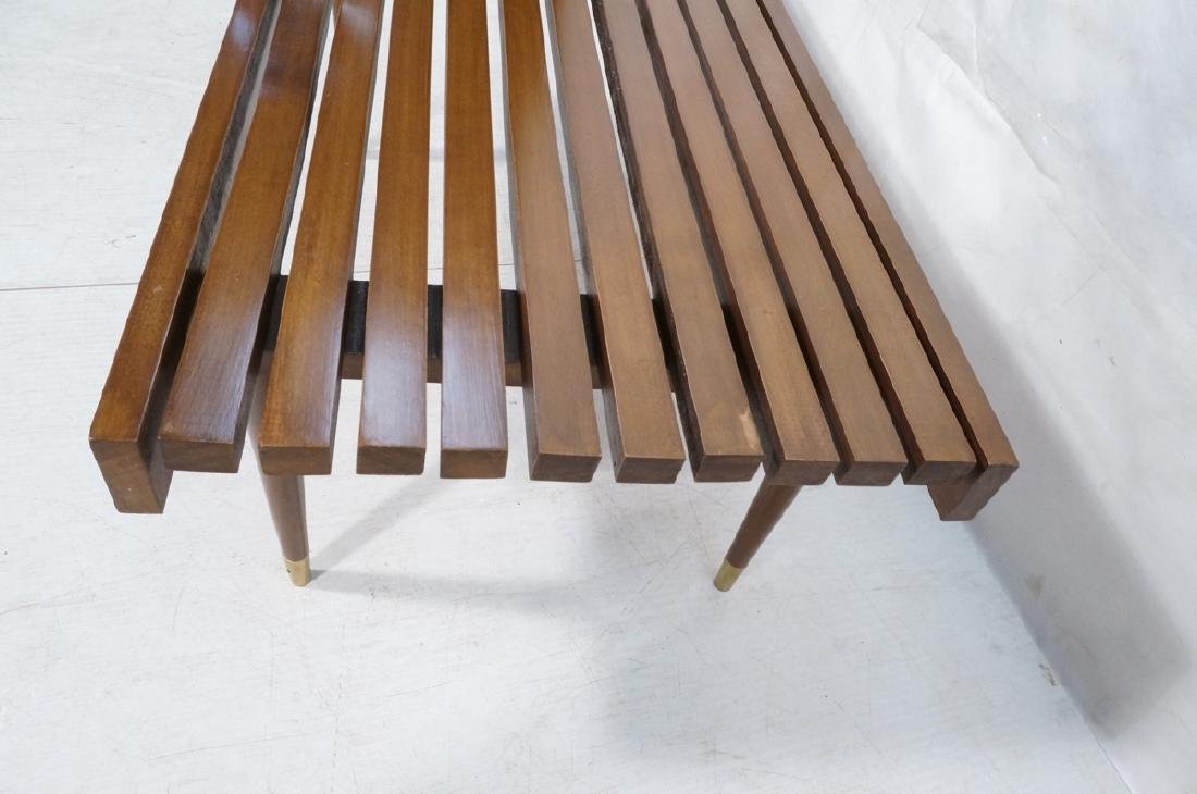 Short Wide Modern Wood Slat Bench. Tapered peg le - 4