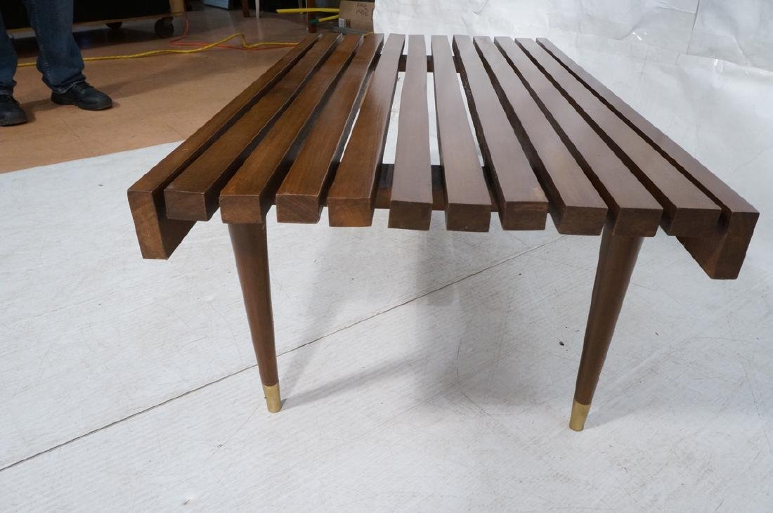 Short Wide Modern Wood Slat Bench. Tapered peg le - 5