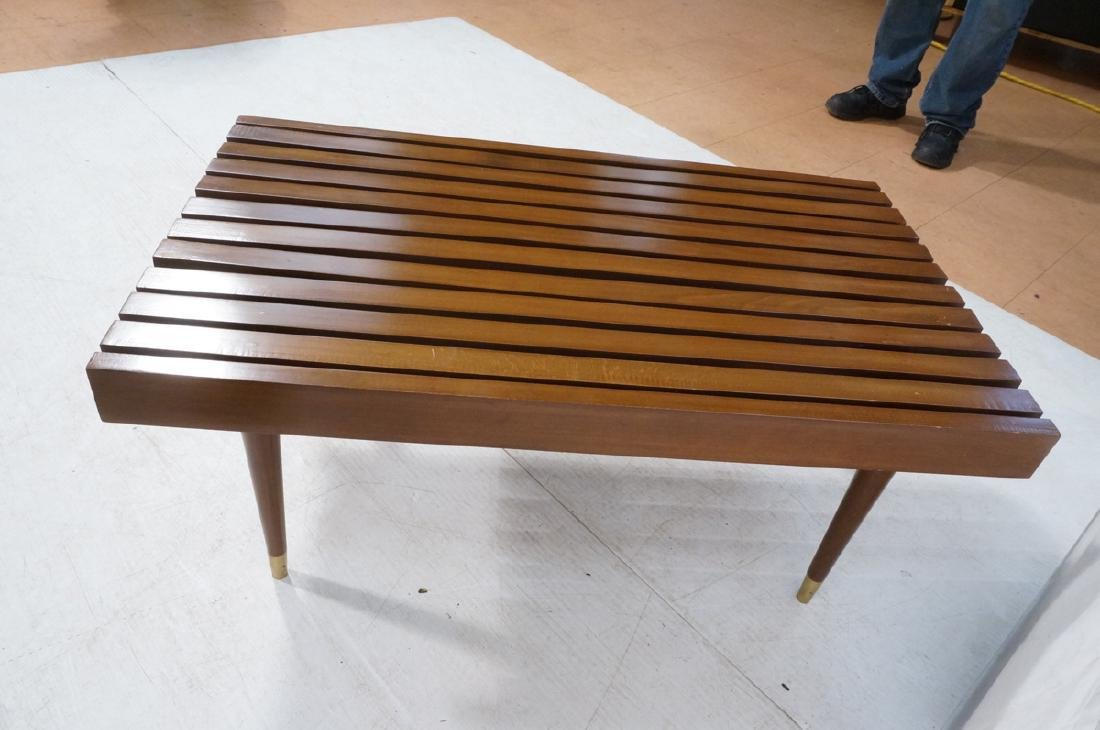 Short Wide Modern Wood Slat Bench. Tapered peg le - 6