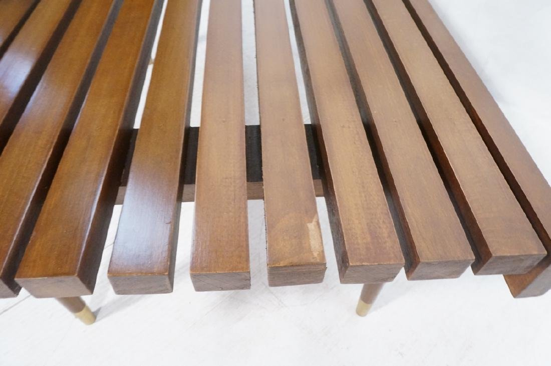 Short Wide Modern Wood Slat Bench. Tapered peg le - 7