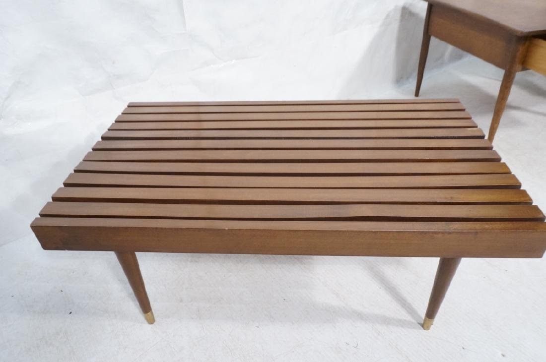 Short Wide Modern Wood Slat Bench. Tapered peg le - 8