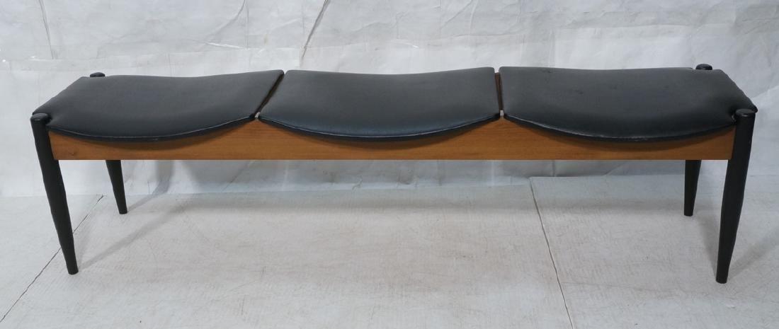 NORCO Walnut 3 Seater Modern Bench. Tapered eboni