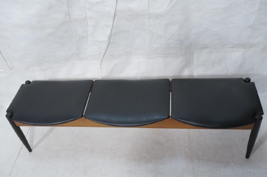 NORCO Walnut 3 Seater Modern Bench. Tapered eboni - 2