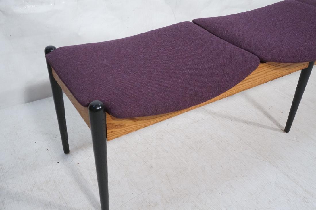 American Modern Purple 3 seater Bench. Oak skirt, - 3