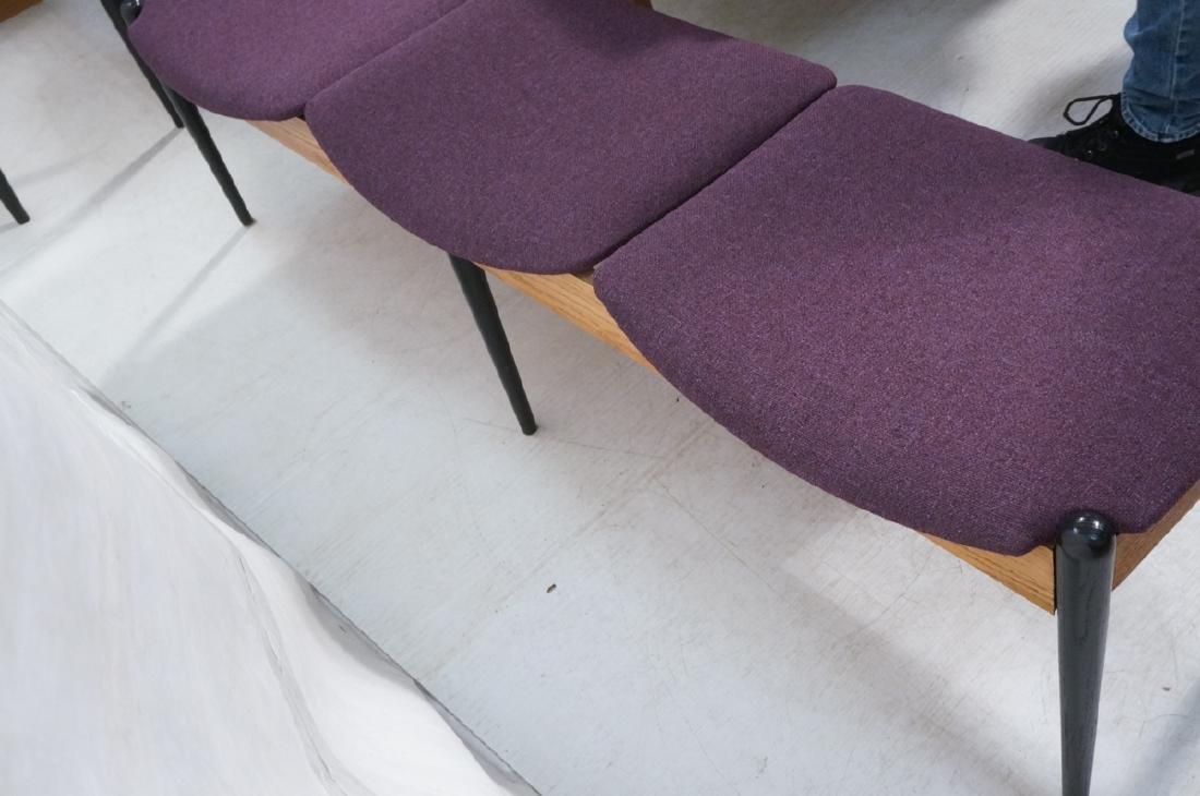 American Modern Purple 3 seater Bench. Oak skirt, - 4