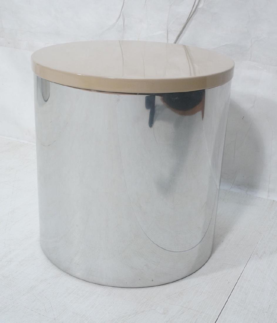 Habitat Chrome Drum Side Table with Lacquered Top