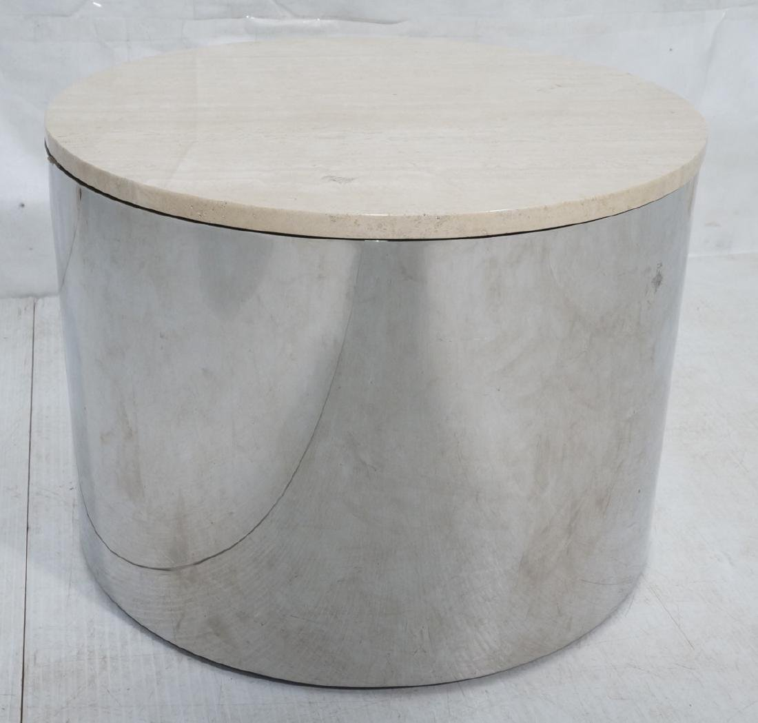 Milo Baughman style Chrome Drum Table with Traver