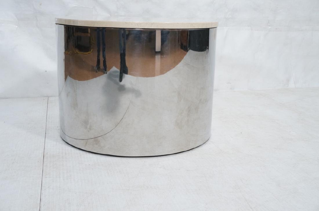 Milo Baughman style Chrome Drum Table with Traver - 2