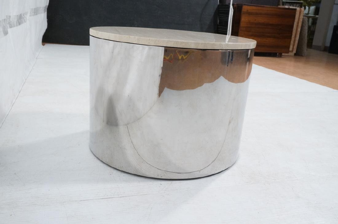 Milo Baughman style Chrome Drum Table with Traver - 4