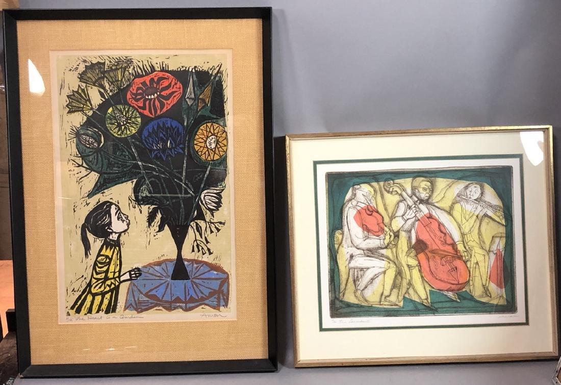 2pc AMEN Prints. Wood Block Print of Girl with Bo