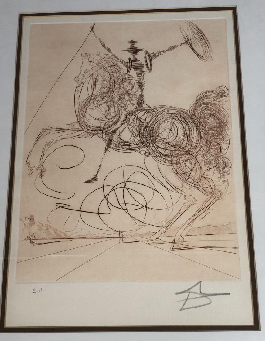 "SALVADOR DALI Signed Engraving ""Don Quixote"" Penc"