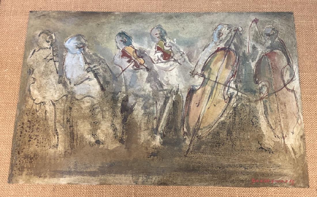 MARIO GUADAGNINO Modernist Watercolor Musicians w