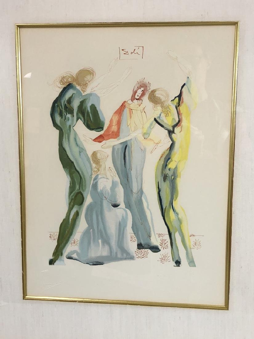 SALVADOR DALI Print. Four figures. Signed in prin