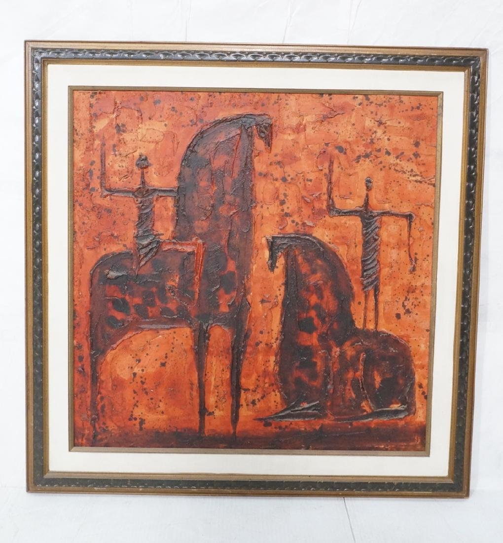 Lg LUZON Modernist Oil Painting Horses and Riders