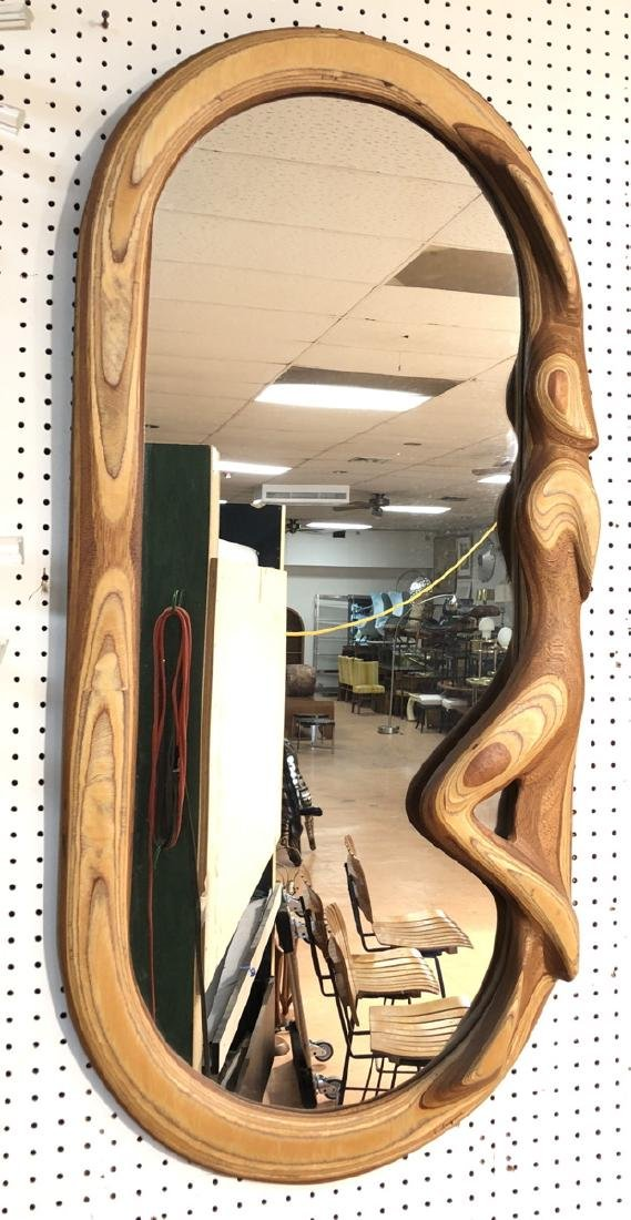 R. HARGRAVE Oval Laminated Wood Wall Mirror. Figu