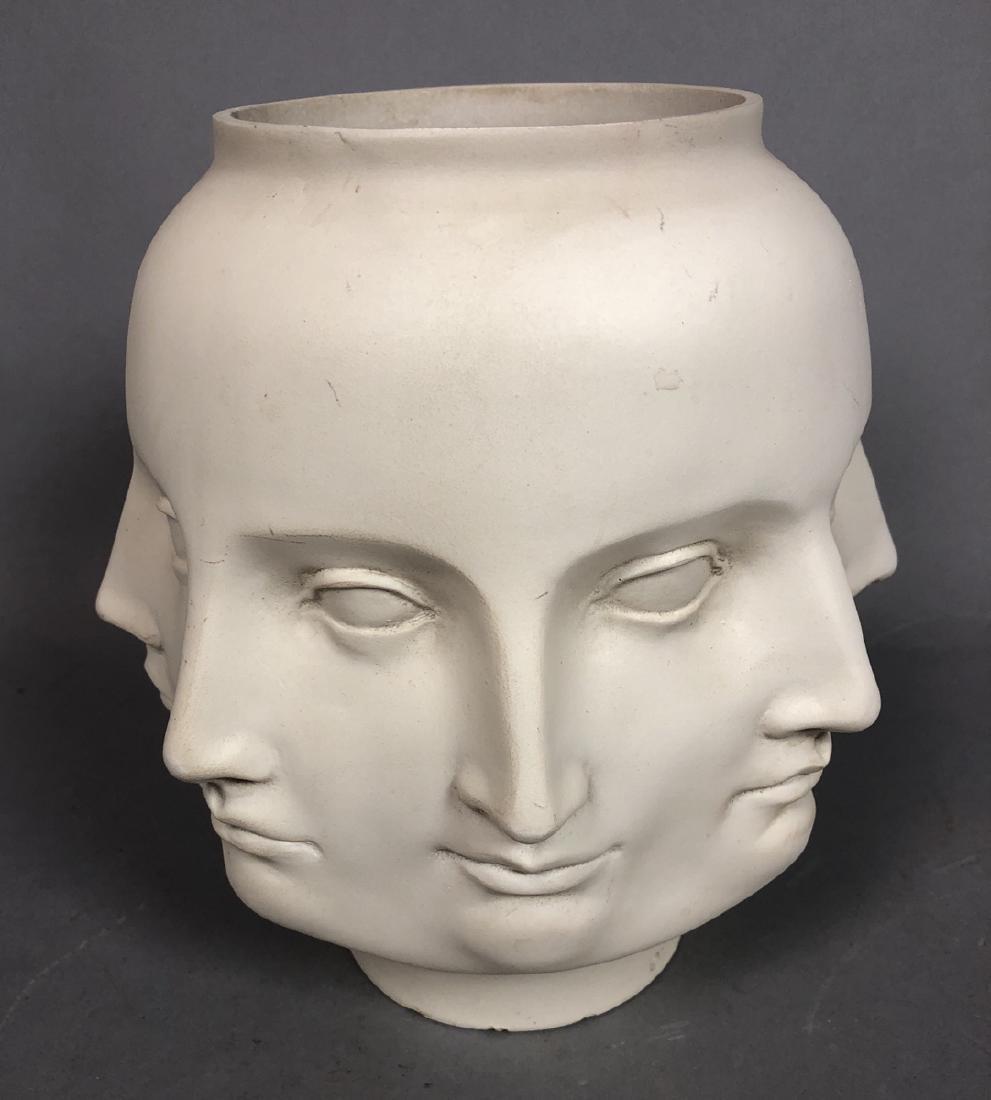 Fornasetti style Multiple Face Vase. White. Marke