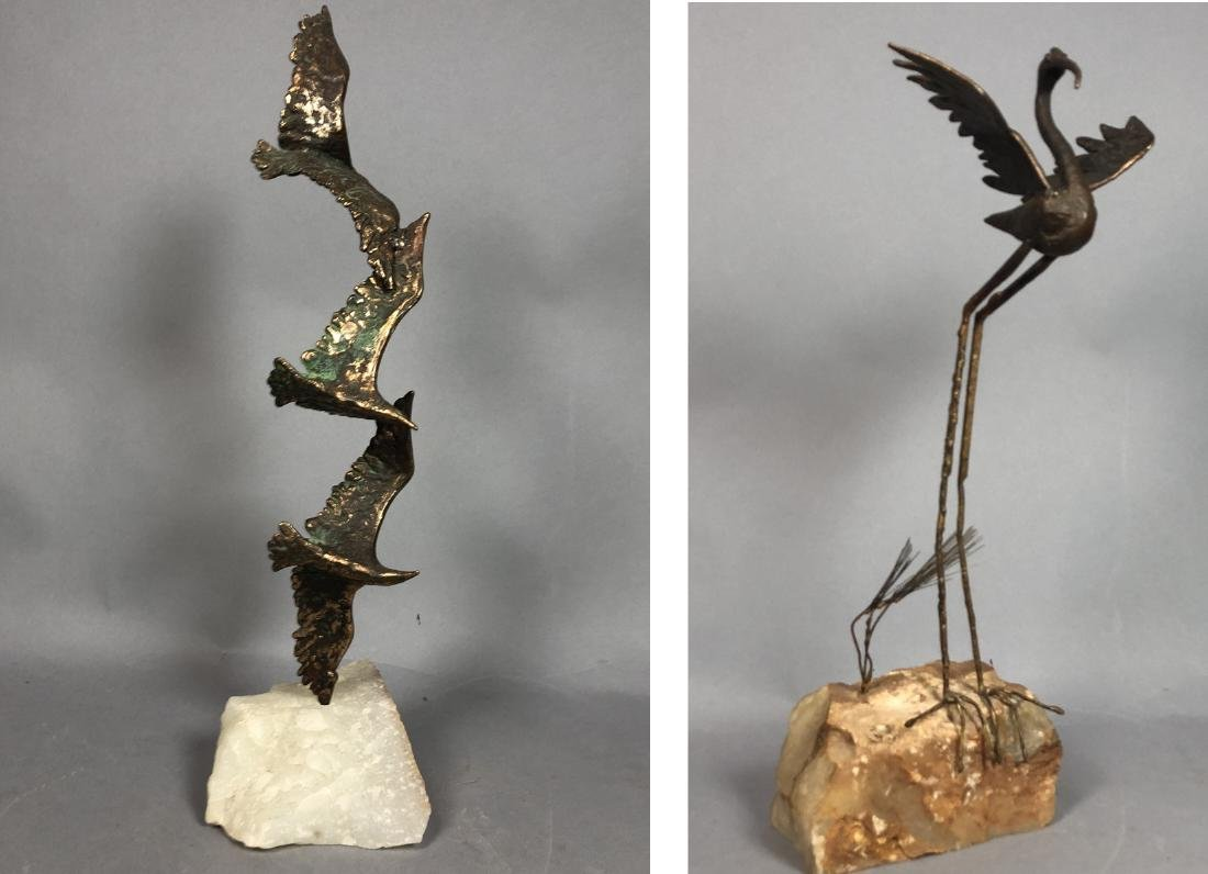 2 Modernist Metal Bird Table Sculptures. C. JERE