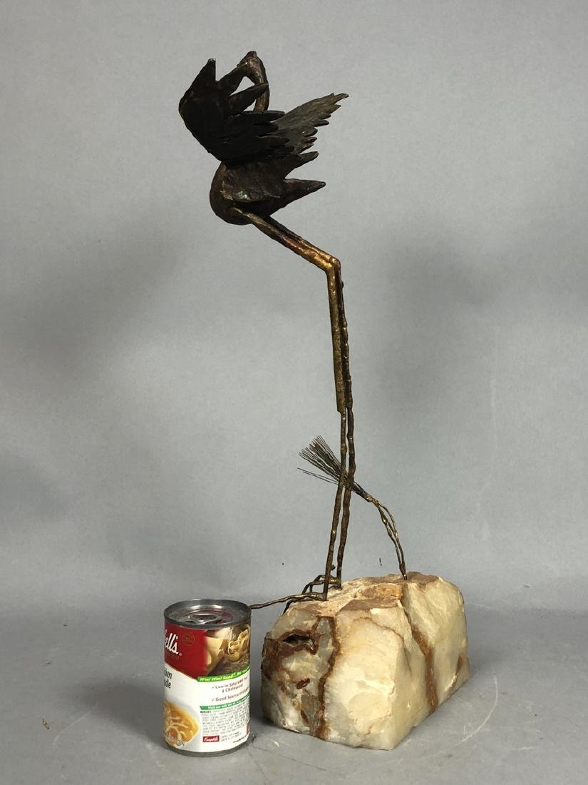2 Modernist Metal Bird Table Sculptures. C. JERE - 5