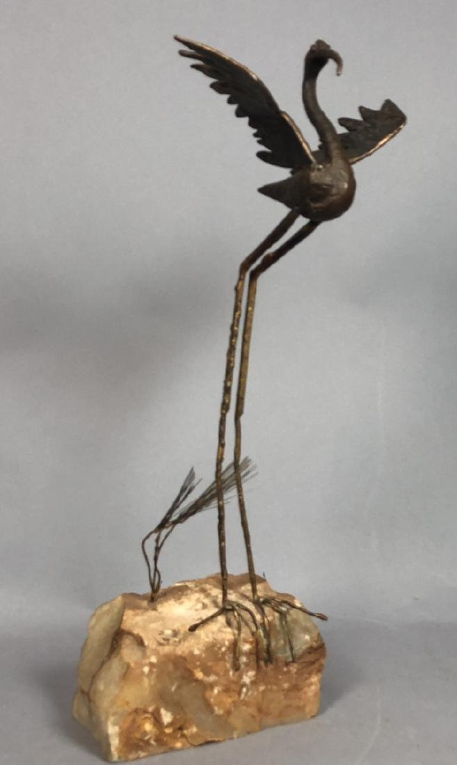 2 Modernist Metal Bird Table Sculptures. C. JERE - 6
