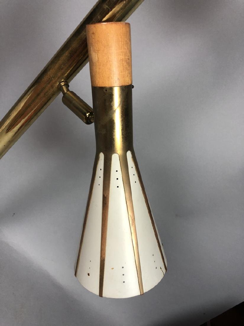 Mid Century Brass Column 2 Shade Table Lamp. Tall - 3