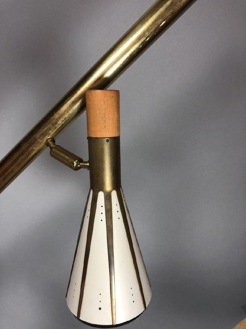 Mid Century Brass Column 2 Shade Table Lamp. Tall - 4