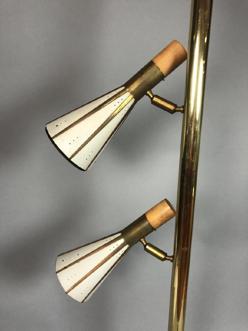 Mid Century Brass Column 2 Shade Table Lamp. Tall - 5