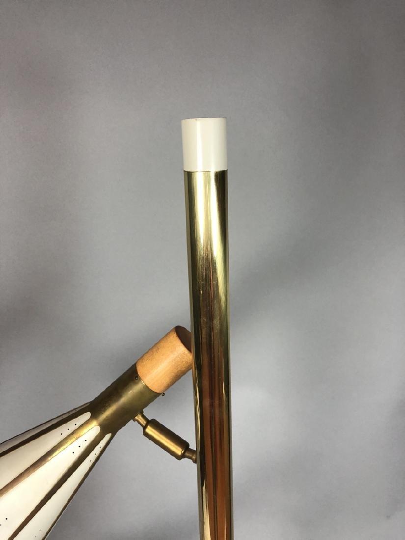 Mid Century Brass Column 2 Shade Table Lamp. Tall - 6