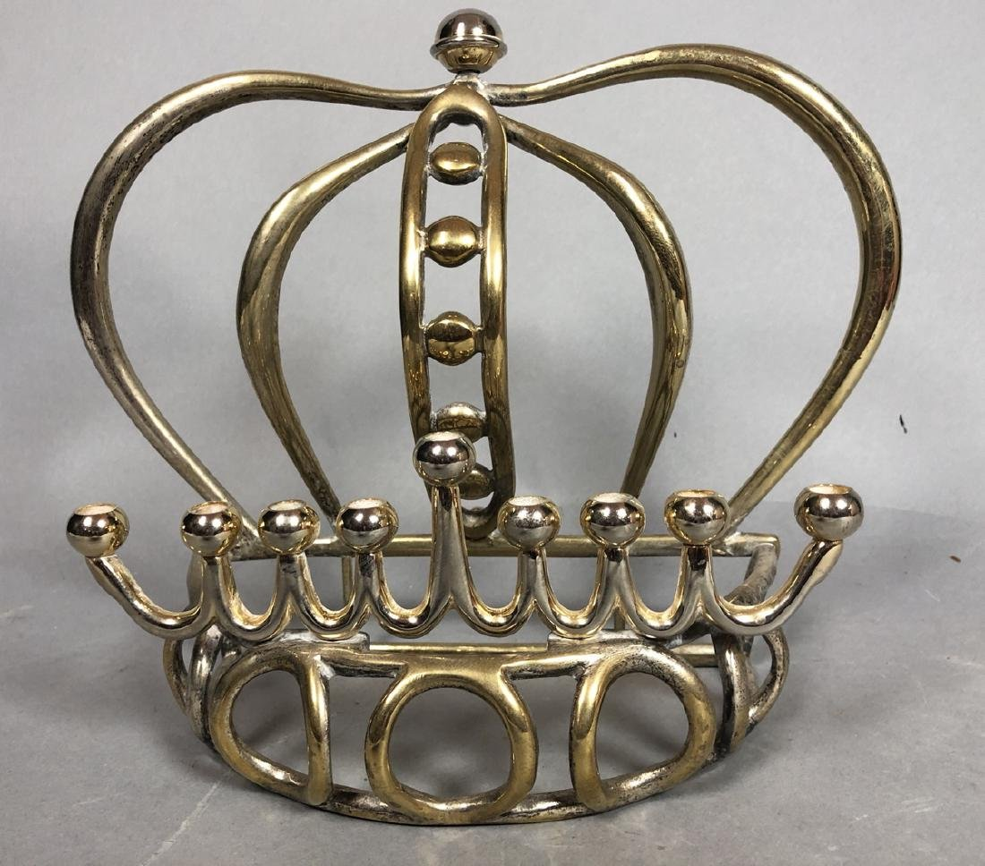 Figural Crown Metal Menorah. Brass & Chrome finis