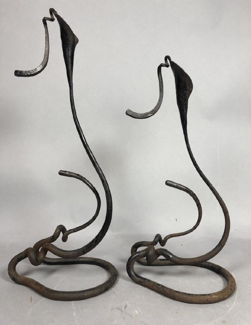 Pr BRUBAKER Wrought Iron Candle Sticks Calla Lily
