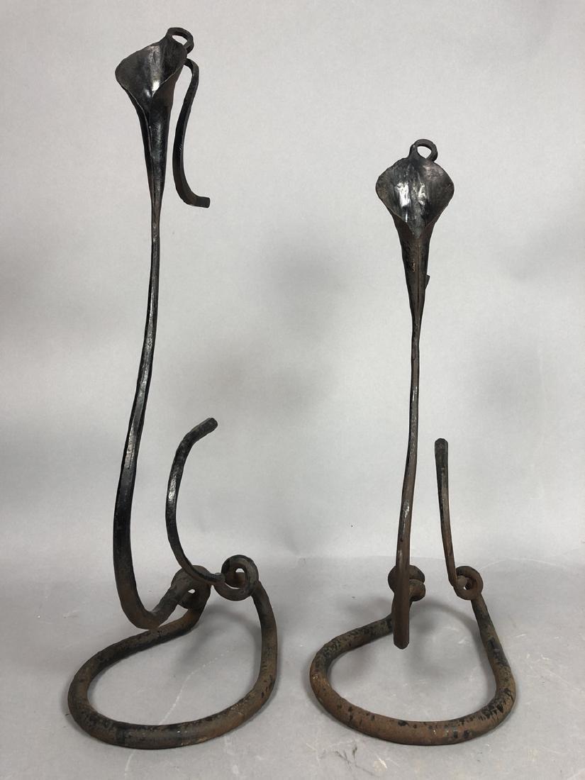 Pr BRUBAKER Wrought Iron Candle Sticks Calla Lily - 2