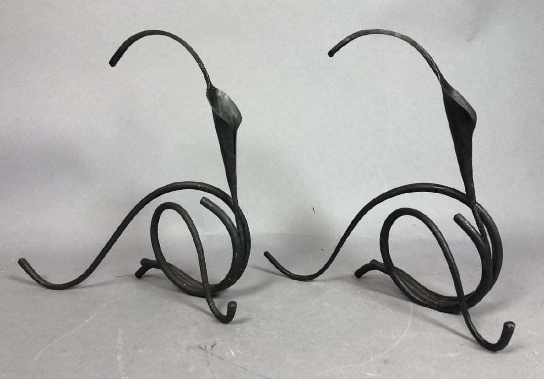 Pr BRUBAKER Style Rolled Iron Calla Lily Candle H