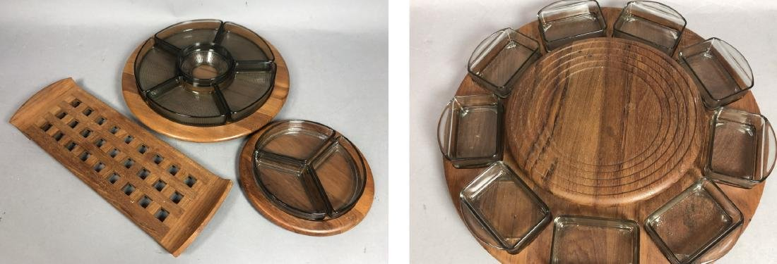 4pc DIGSMED Danish Modern Teak Tableware. 2 round