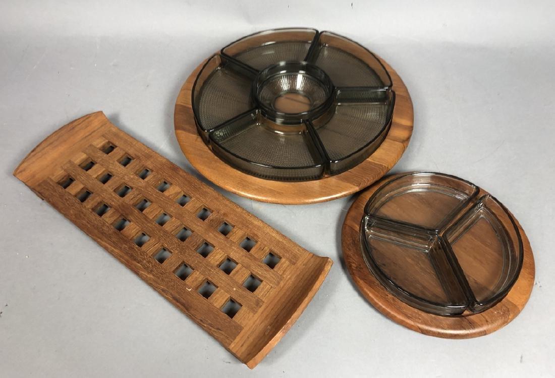 4pc DIGSMED Danish Modern Teak Tableware. 2 round - 2