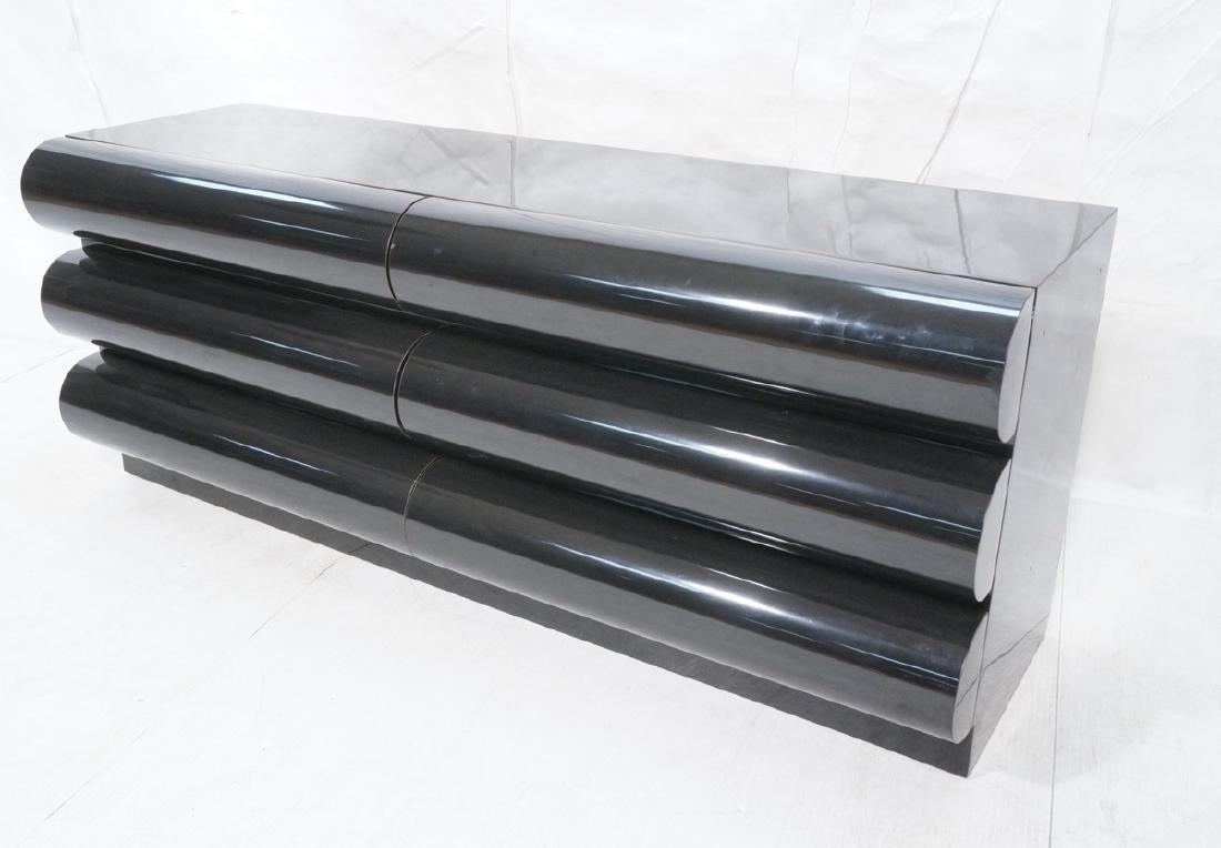 Modernist Black Laminate 6 Drawer Credenza Dresse