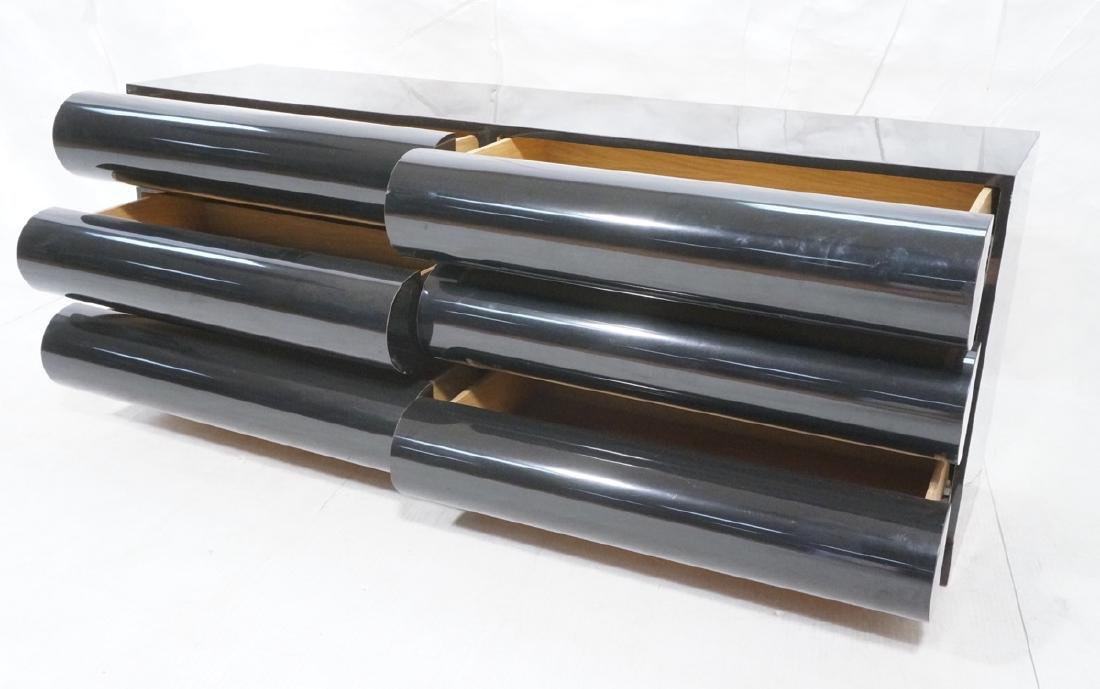 Modernist Black Laminate 6 Drawer Credenza Dresse - 7