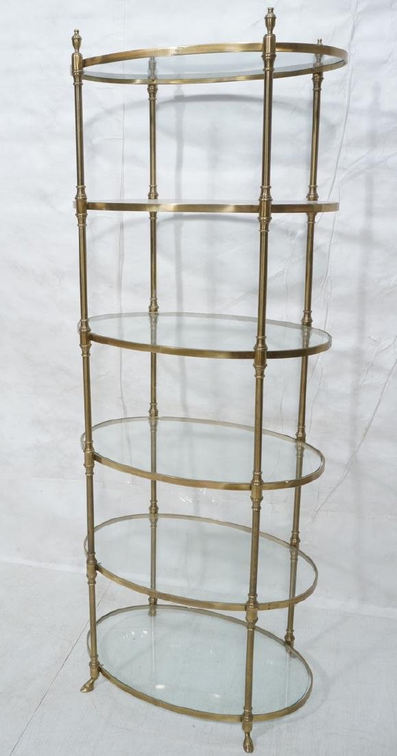 Regency Style Modern Brass Etagere Display Shelf.