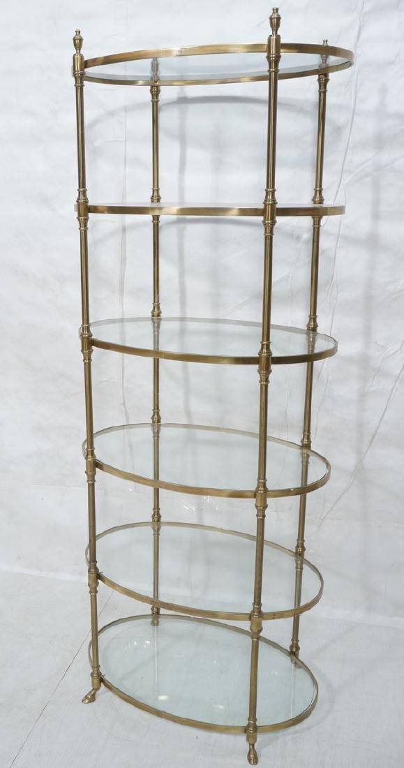 Regency Style Modern Brass Etagere Display Shelf.