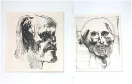 2 LEONARD BASKIN Portrait Etching Prints Gerica