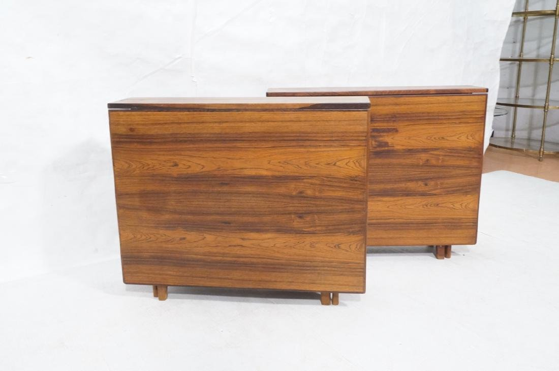 Pr Scandinavian Modern Rosewood Drop side Tables. - 2