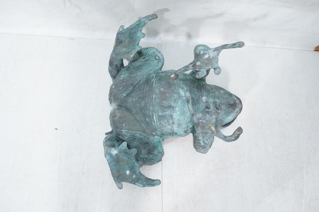 Oversized Bronze Figural Frog Fountain Sculpture. - 8