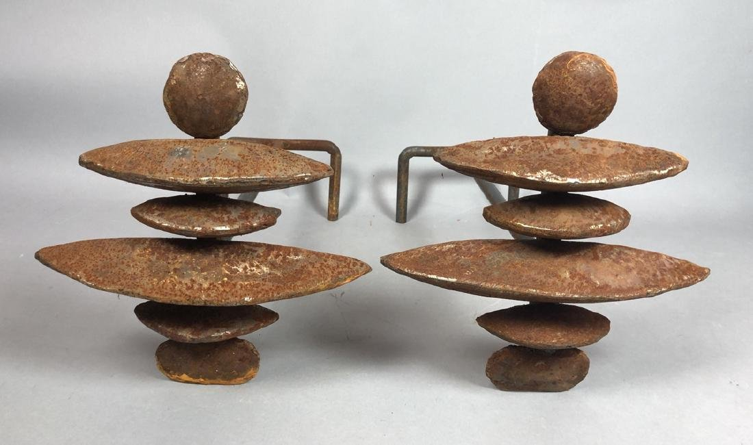 Pr Modernist Giacometti Style Andiron Fire Dogs.