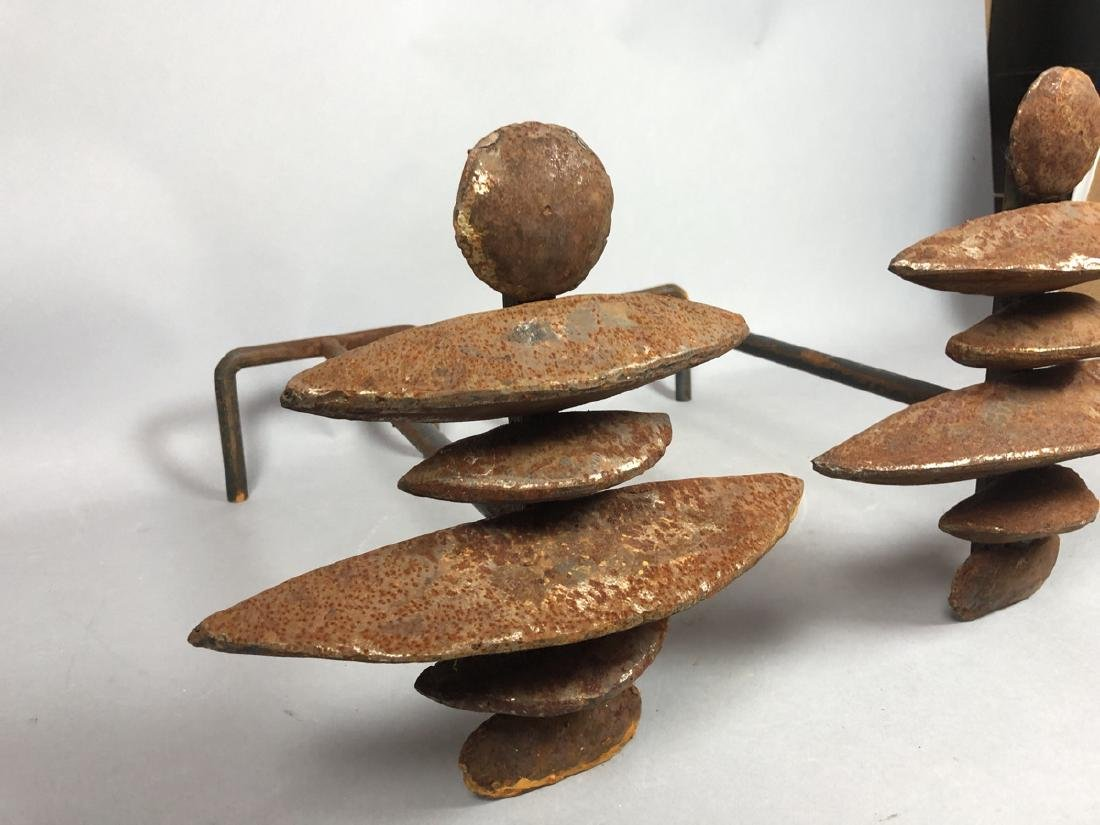 Pr Modernist Giacometti Style Andiron Fire Dogs. - 5